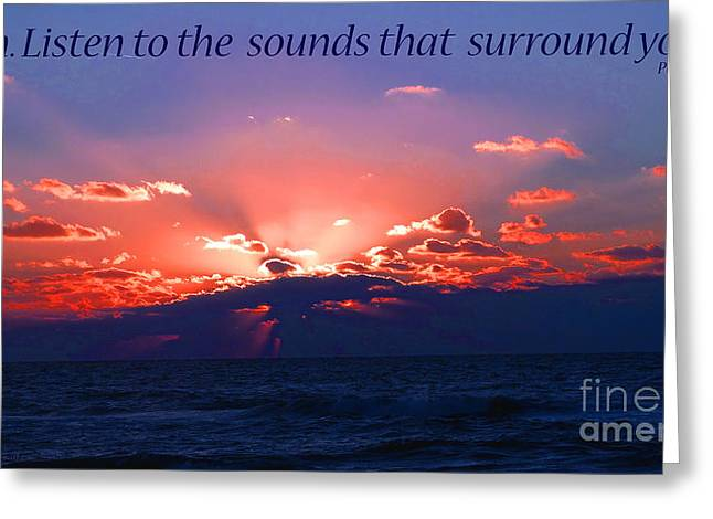 Florida Sunset Beyond The Ocean - Shh Greeting Card