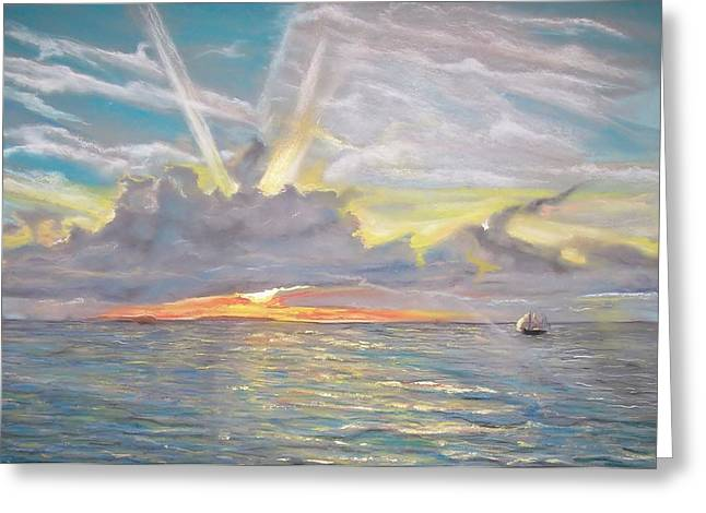 Greeting Card featuring the pastel Florida Sunset by Peter Suhocke
