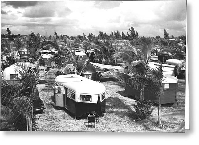 Florida Trailer Camp Greeting Card by Underwood Archives