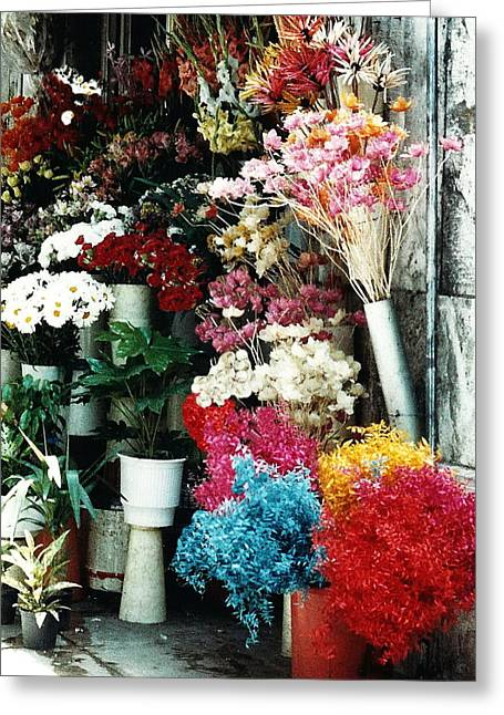 Florist In Athens Greeting Card by Jacqueline M Lewis