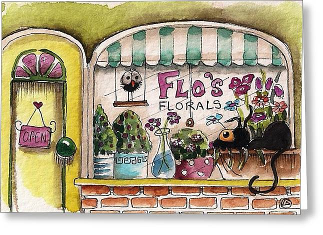 Flo's Flowers Greeting Card by Lucia Stewart