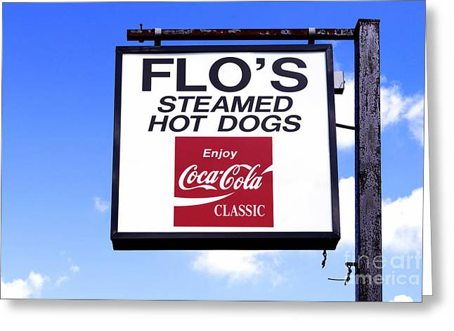 Flo's Steamed Hot Dogs Greeting Card by Jerry Fornarotto