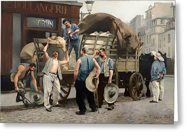 Flour Carriers - Scene From Paris Greeting Card by Mountain Dreams