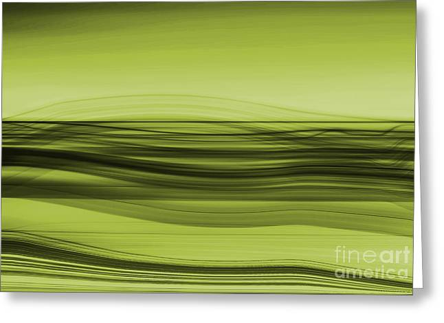 Flow - Green Greeting Card by Hannes Cmarits