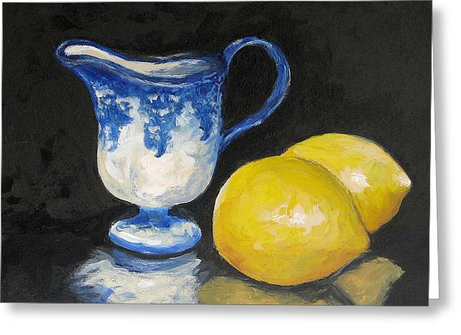 Flow Blue Creamer And Lemons Greeting Card