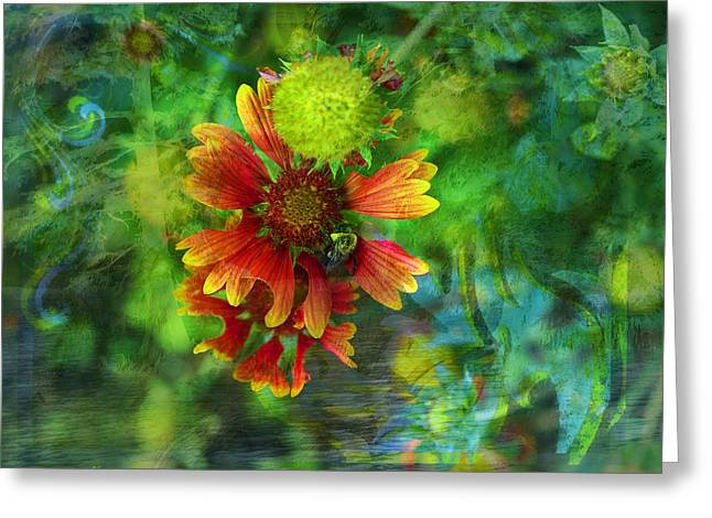 Flower Abstract Greeting Card by J Larry Walker