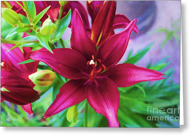 Flower - Amazing Lilies - Luther Fine Art Greeting Card by Luther Fine Art