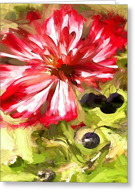 Flower And Berries Greeting Card by Yury Malkov
