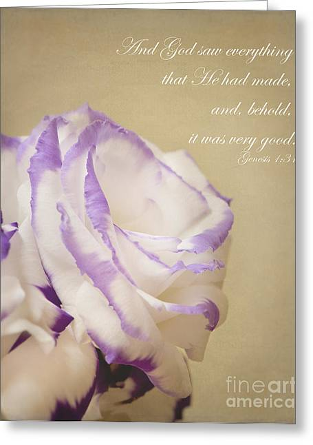 Flower And Bible Verse Greeting Card by Ivy Ho