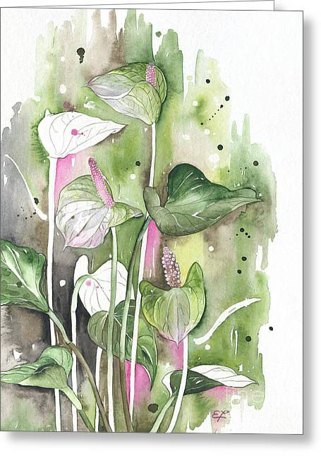Flower Anthurium 04 Elena Yakubovich Greeting Card by Elena Yakubovich