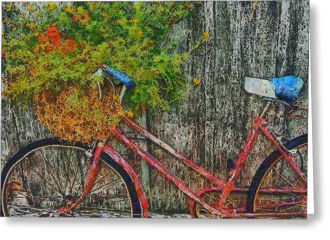 Flower Basket On A Bike Greeting Card by Mark Kiver