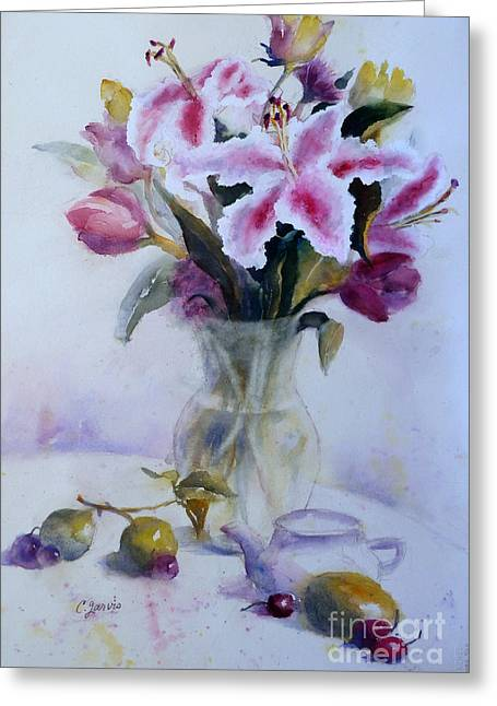 Flower Bouquet With Teapot And Fruit Greeting Card