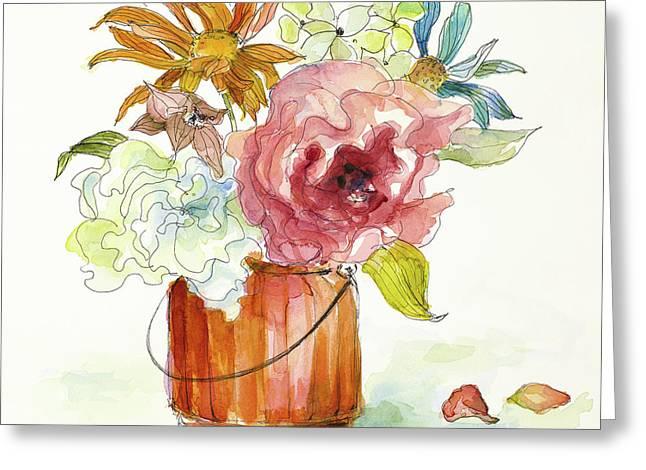 Flower Burst In Vase I Greeting Card