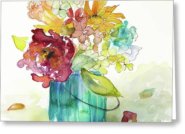Flower Burst In Vase II Greeting Card by Lanie Loreth