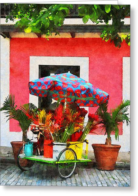 Flower Cart San Juan Puerto Rico Greeting Card by Susan Savad