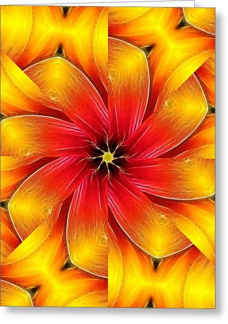 Flower Close-up--fractalius Kaleidoscope Greeting Card