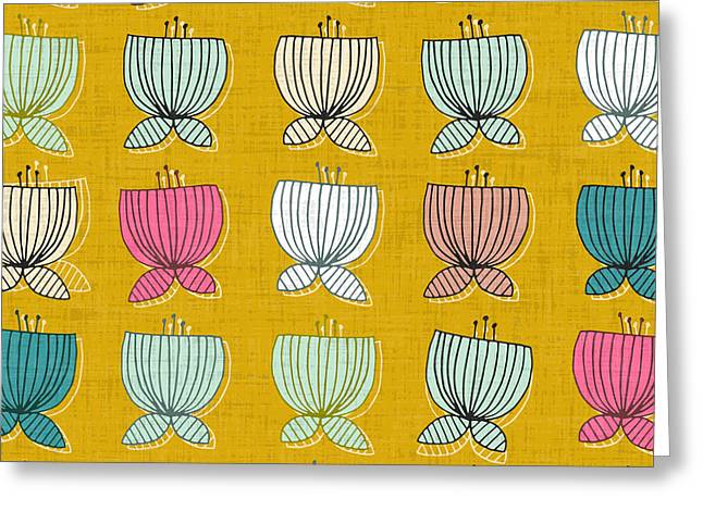 Flower Cups Yellow Greeting Card by Sharon Turner