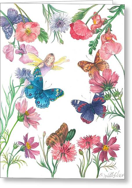Flower Fairy Illustrated Butterfly Greeting Card