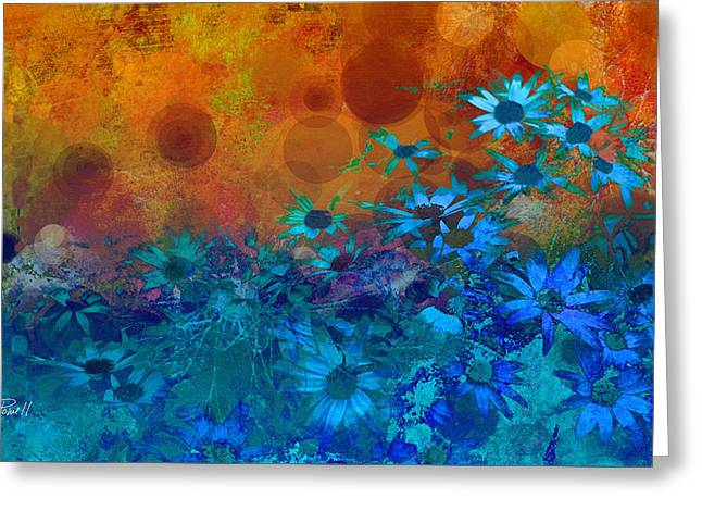 Flower Fantasy In Blue And Orange  Greeting Card