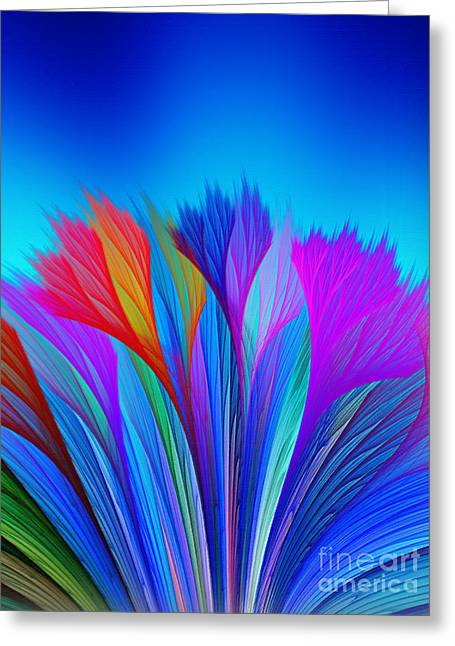Flower Fantasy In Blue Greeting Card