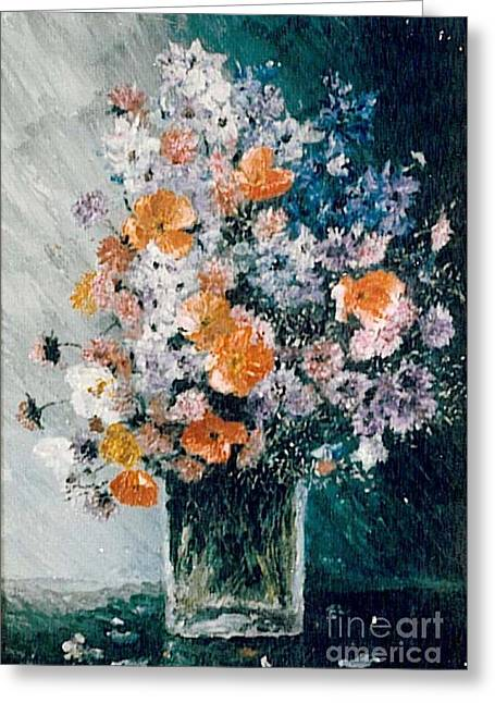 Greeting Card featuring the painting Flower Field by Sorin Apostolescu