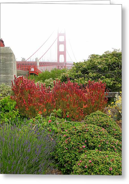 Flower Garden At The Golden Gate Bridge Greeting Card by Connie Fox