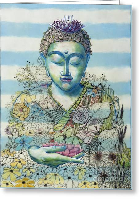 Flower Garden Buddha Greeting Card