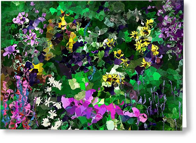Greeting Card featuring the digital art Flower Garden by David Lane