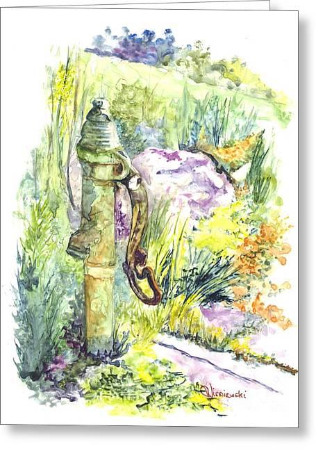 Flower Garden Hand Pump Greeting Card