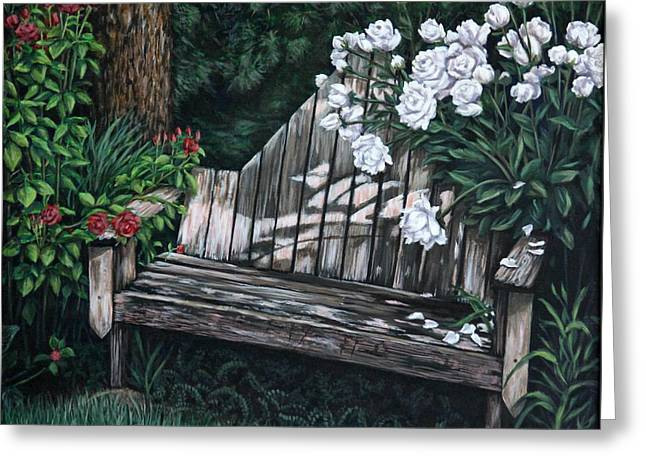 Greeting Card featuring the painting Flower Garden Seat by Penny Birch-Williams