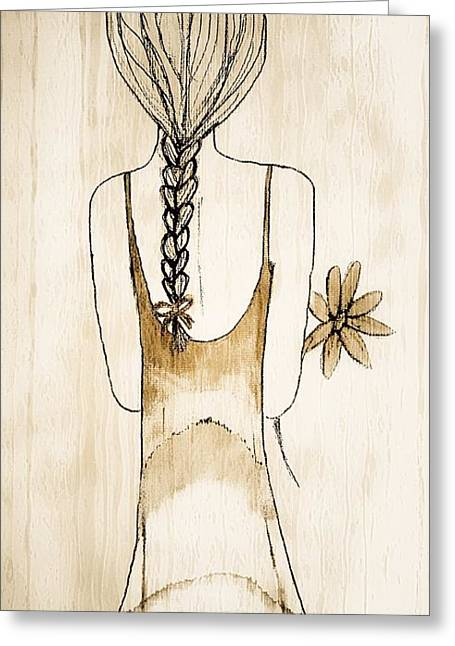 Flower Girl 3 Greeting Card by Anne Costello