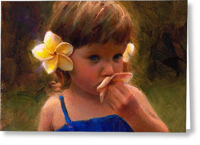 Flower Girl - Tropical Portrait With Plumeria Flowers Greeting Card