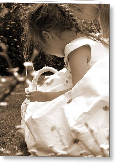 Flower Girls In Sepia Greeting Card by Terri Waters