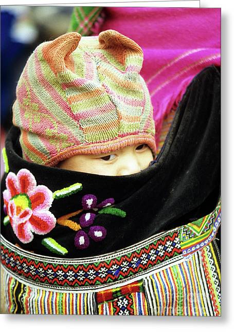 Flower Hmong Baby 02 Greeting Card
