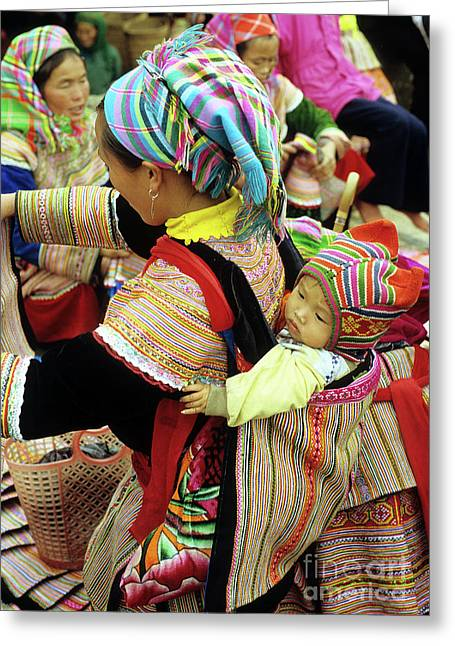Flower Hmong Baby 03 Greeting Card