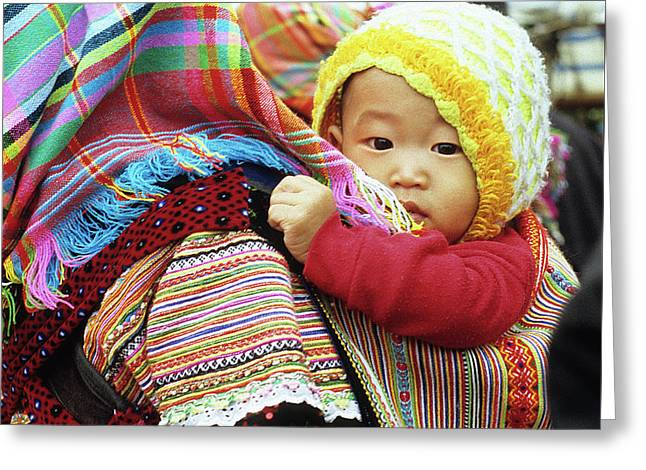Flower Hmong Baby 04 Greeting Card