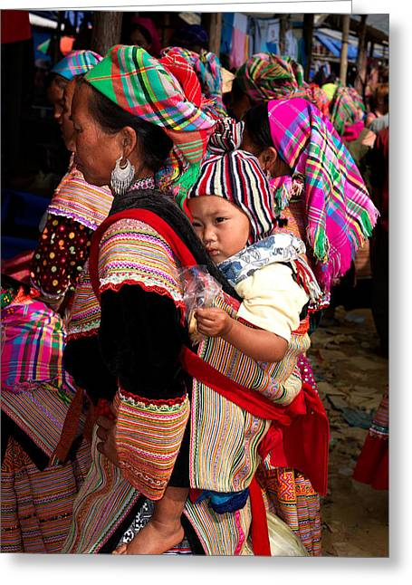 Flower Hmong Woman Carrying Baby Greeting Card by Panoramic Images