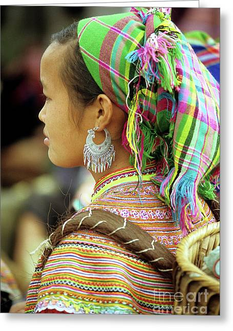 Flower Hmong Woman Greeting Card