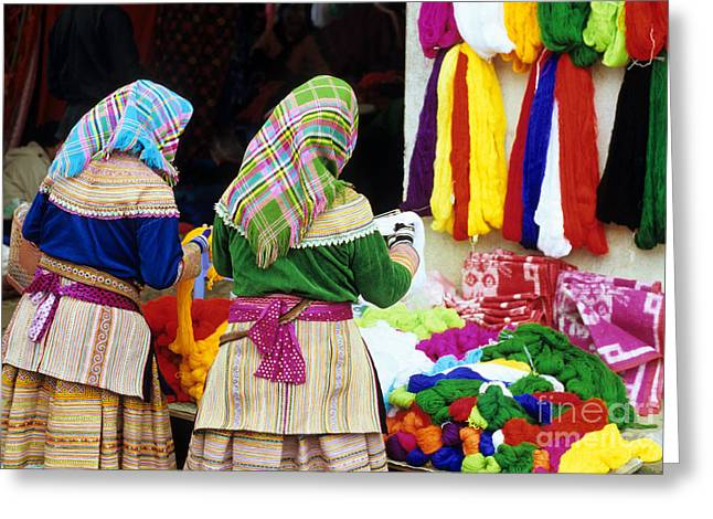 Flower Hmong Wool Stall Greeting Card by Rick Piper Photography