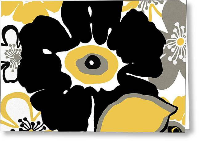 Flower In Black And Gold Greeting Card