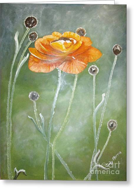 Greeting Card featuring the painting Flower In The Mist by Judy Morris