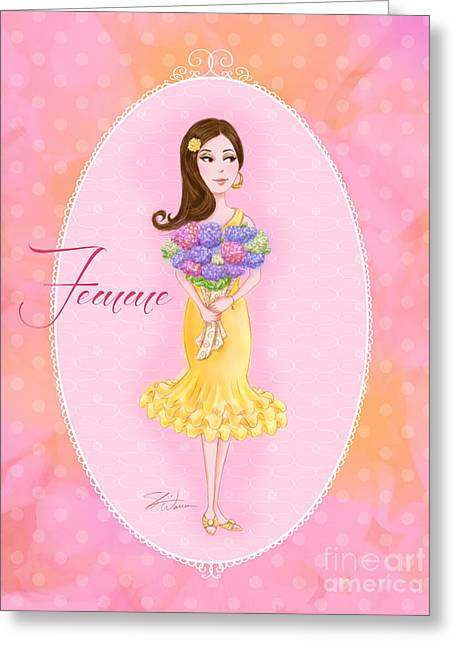 Flower Ladies-femme Greeting Card
