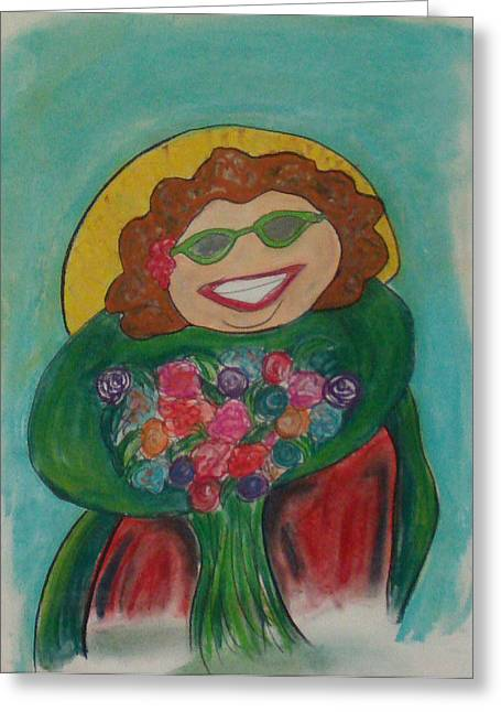 Flower Lady Greeting Card by Erica Simons