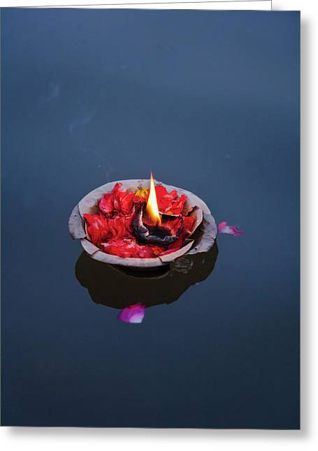 Flower Lamp On The Ganges River Greeting Card by Keren Su