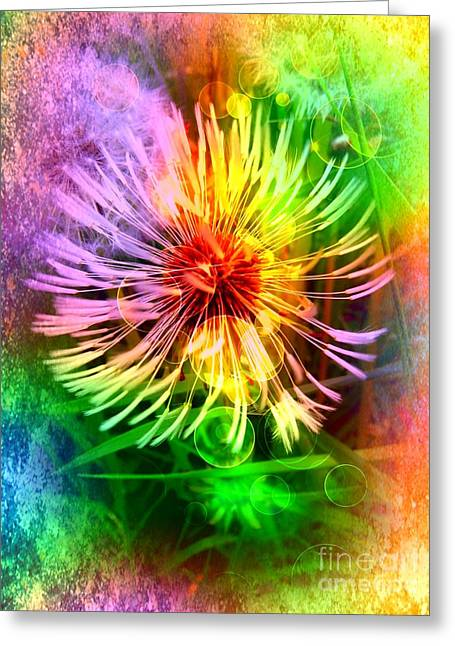 Greeting Card featuring the digital art Flower Light by Nico Bielow