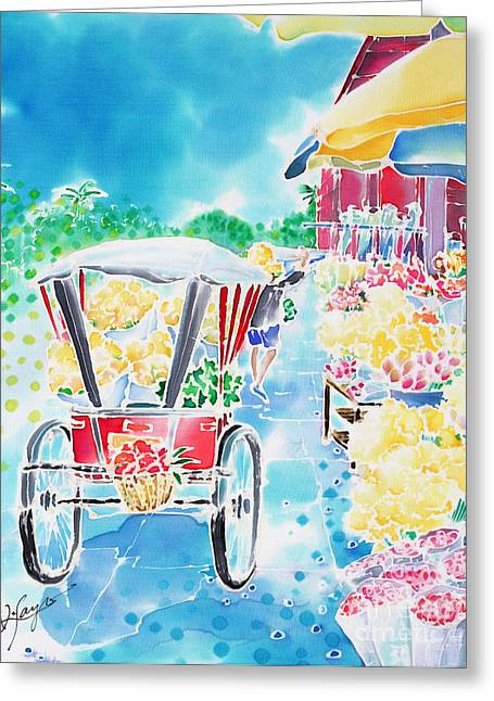 Flower Market  In Chiang Mai Greeting Card