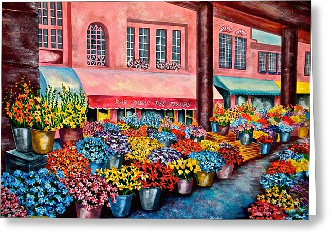 Flower Market In Nice France Greeting Card by Jan Law