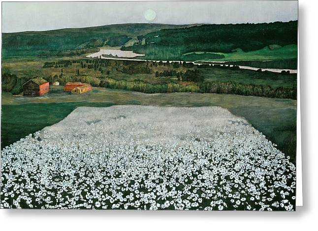 Flower Meadow In The North Greeting Card by Harald Sohlberg