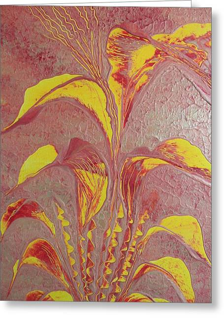 Greeting Card featuring the painting Flower by Nico Bielow