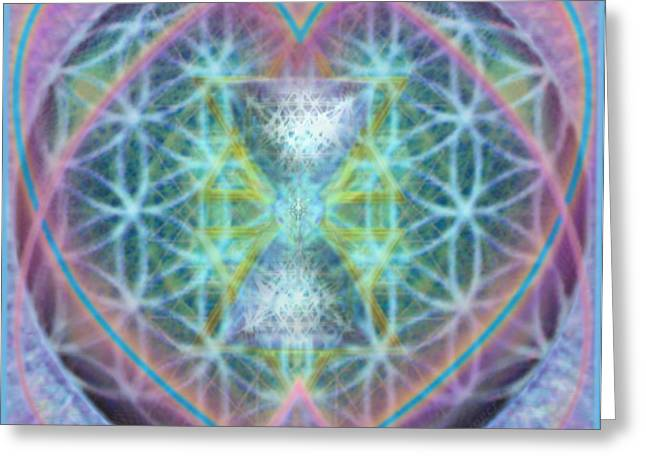 Flower Of Life Forested Chalice In Passion Brights Greeting Card by Christopher Pringer